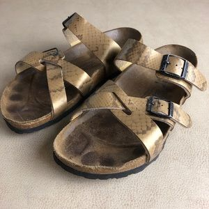 Birki's | Gold Snake-Print Cross-Strap Sandals